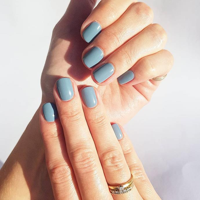 """**Pisces:** ***Grey Matter***<br><br>  Intuitive and emotional Pisces should think tonal for their next appointment. Shades of blue-grey will speak to their deep-thinking personality. <br><br>    Image via [@opi_gelcolor_](https://www.instagram.com/opi_gelcolor_/