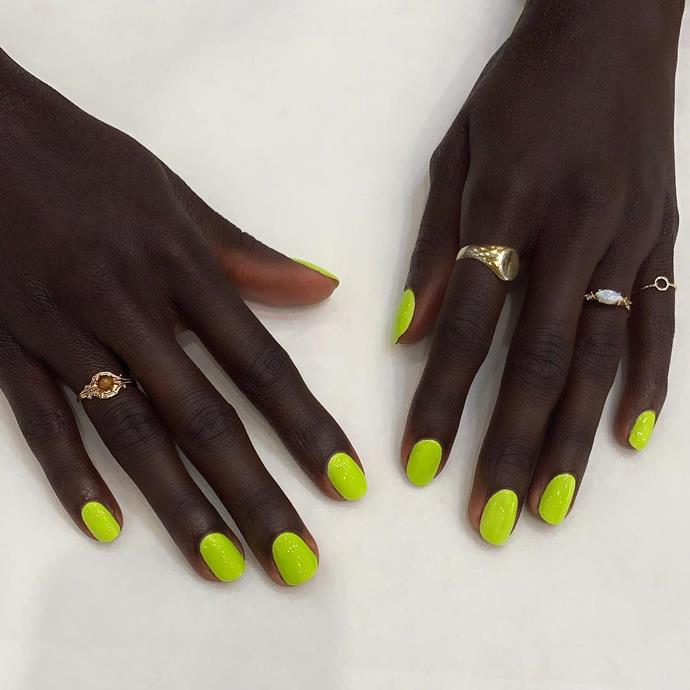 """**Aries:** ***Neon Nails***<br><br>  Three words: Fierce and fluoro. [Neon makeup](https://www.elle.com.au/beauty/neon-makeup-20979