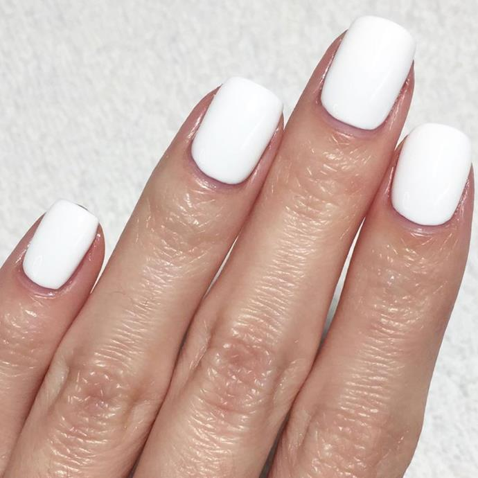 """**Capricorn:** ***White Hot***<br><br>  Practical Capricorn tends to veer towards classics, but these white-hot nails will appeal to their experimental side.<br><br>  *Image via [@oliveandjune](https://www.instagram.com/p/Bzyp32un5Qo/