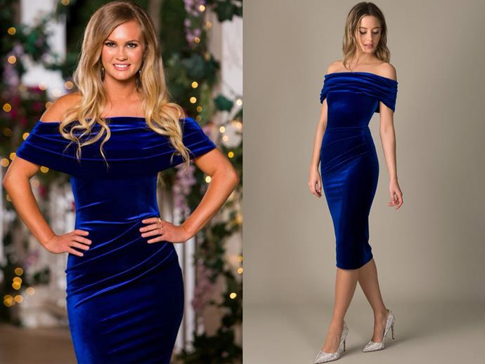 "Chelsie wears the 'Jennie' dress, $232 by [Nadine Merabi](https://www.nadinemerabi.com/collections/midi-dresses/products/jennie-midnight|target=""_blank""