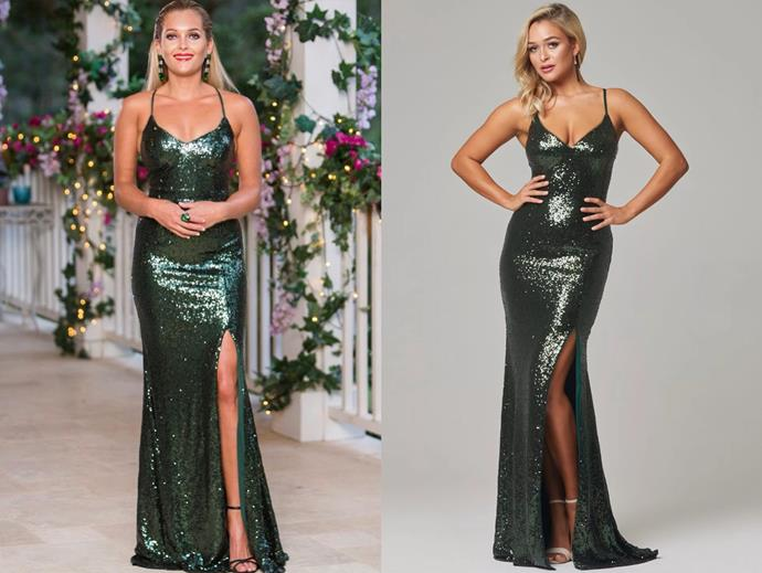 "Nichole wears the 'India' gown by [Tania Olsen Designs](https://www.taniaolsen.com.au/product/india/|target=""_blank""
