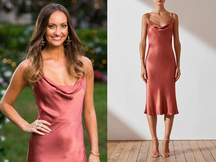 "Emma wears the 'Gisele' dress, $180 by [Shona Joy](https://shonajoy.com.au/products/gisele-bias-cowl-midi-dress-terracotta|target=""_blank""