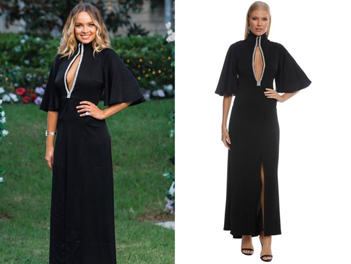 "Abbie wears the 'Mae' dress by Ellery, $369 (per week) at [Glam Corner](https://www.glamcorner.com.au/designers/ellery/mae-funnel-neck-dress-black|target=""_blank""
