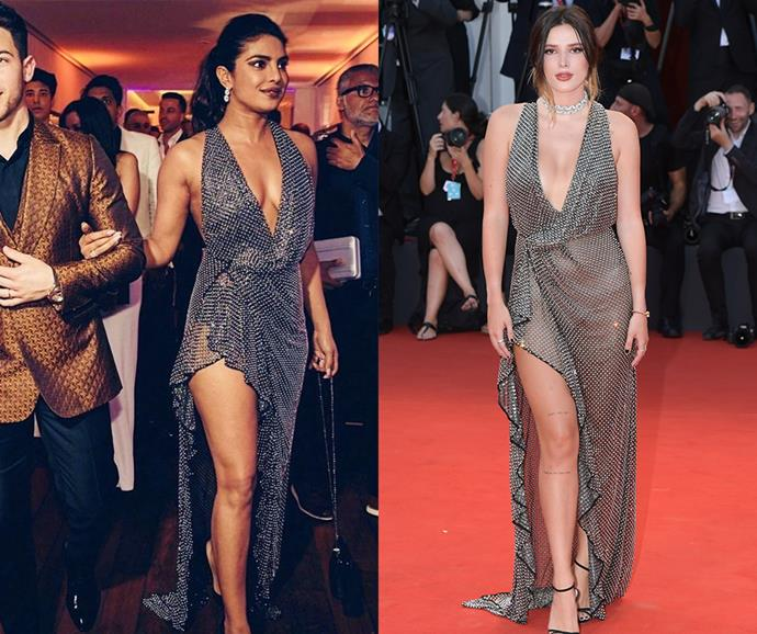 """**Priyanka Chopra and Bella Thorne** <br><br> Both Priyanka Chopra and Bella Thorne took this sultry Philosophy di Lorenzo Serafini gown out for a spin. Chopra wore it with a slick ponytail at the Cannes Film Festival, while Thorne opted for a low bun and jewels at the [Venice Film Festival](https://www.elle.com.au/fashion/venice-film-festival-day-three-four-21159