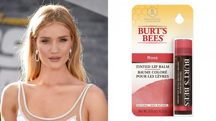 "**Rosie Huntington-Whiteley**<br><br>  A fan of ['no make-up make up'](https://www.elle.com.au/beauty/no-makeup-makeup-tutorial-18709|target=""_blank""), it's unsurprising that Rosie Huntington-Whiteley's go-to affordable beauty buy is one that delivers a gorgeously natural finish.<br><br>  ""I'm not a big lipstick person because I hate that you have to touch it up every five minutes. I stick to a tinted lip balm instead, like Burt's Bees,"" she [said](https://www.washingtonpost.com/entertainment/rosie-huntington-whiteleys-perfect-pout-tip/2015/06/09/bb587884-0ec7-11e5-a0fe-dccfea4653ee_story.html