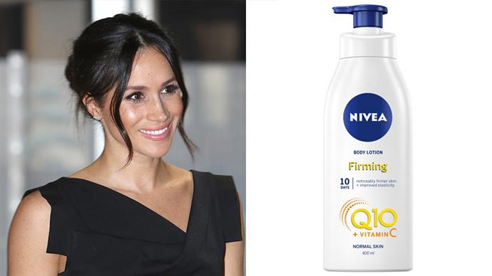 "**Meghan Markle**<br><br>  Before she became a duchess, Meghan Markle raved openly about her love for this affordable Nivea lotion.<br><br>  ""I use this religiously. It's honestly my favourite lotion on the market, it's so affordable, and makes my skin look and feel amazing. I would buy a case of this at a time if I could find it,"" she told *Beauty Banter* (quote via [*Harper's BAZAAR* U.K.](https://www.harpersbazaar.com/uk/beauty/skincare/a13449481/the-pound5-body-product-meghan-markle-swears-by/