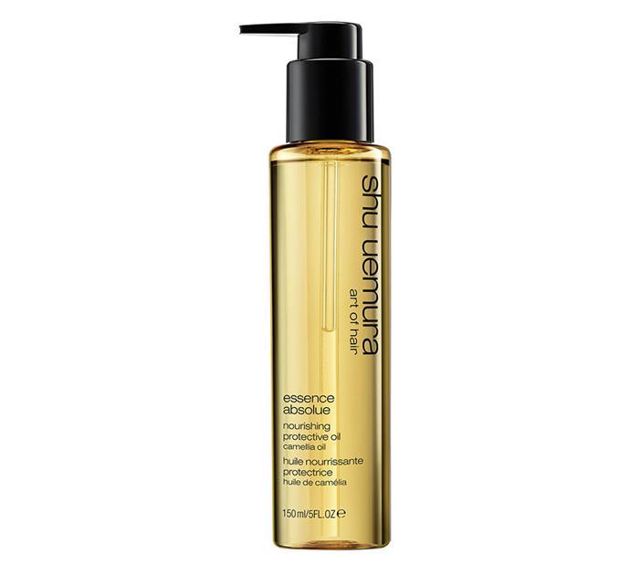 "Shu Uemura Art of Hair Essence Absolue, $68 at [Ry](https://www.ry.com.au/shu-uemura-art-of-hair-essence-absolue-150ml-au/11711514.html?affil=thggpsad&switchcurrency=AUD&shippingcountry=AU&shoppingpid=clickfrenzy_extra_5_off&thg_ppc_campaign=71700000046707906&adtype=pla&product_id=11711514&gclid=CjwKCAjw-7LrBRB6EiwAhh1yX_N7-7hyQnlwPEebPEWz39duaEY9kje0MRnZd43qow6aEPvo8S5TQRoCynsQAvD_BwE&gclsrc=aw.ds|target=""_blank""|rel=""nofollow"")"