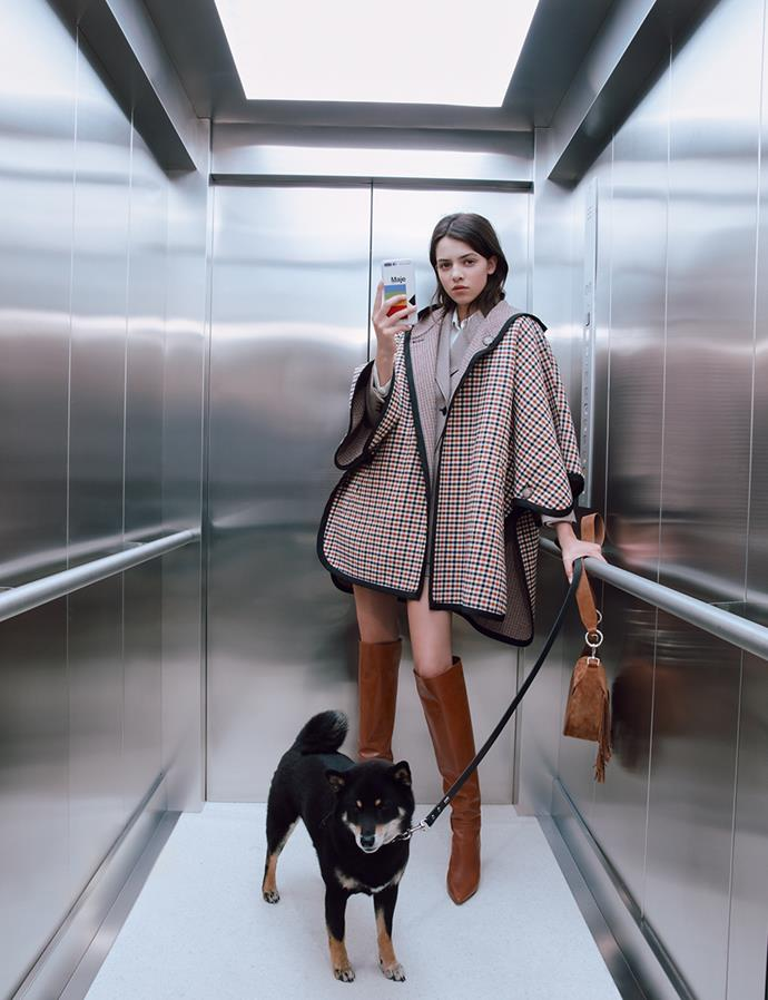 "[Maje Paris REVERSIBLE PONCHO COAT, $980](https://www.maje.com.au/new-in/reversible-poncho-coat-multiclr/?utm_source=article&utm_medium=native_article&utm_campaign=elle_magazine&utm_term=maje_my_dog_and_i_new_collection_fall_winter|target=""_blank""
