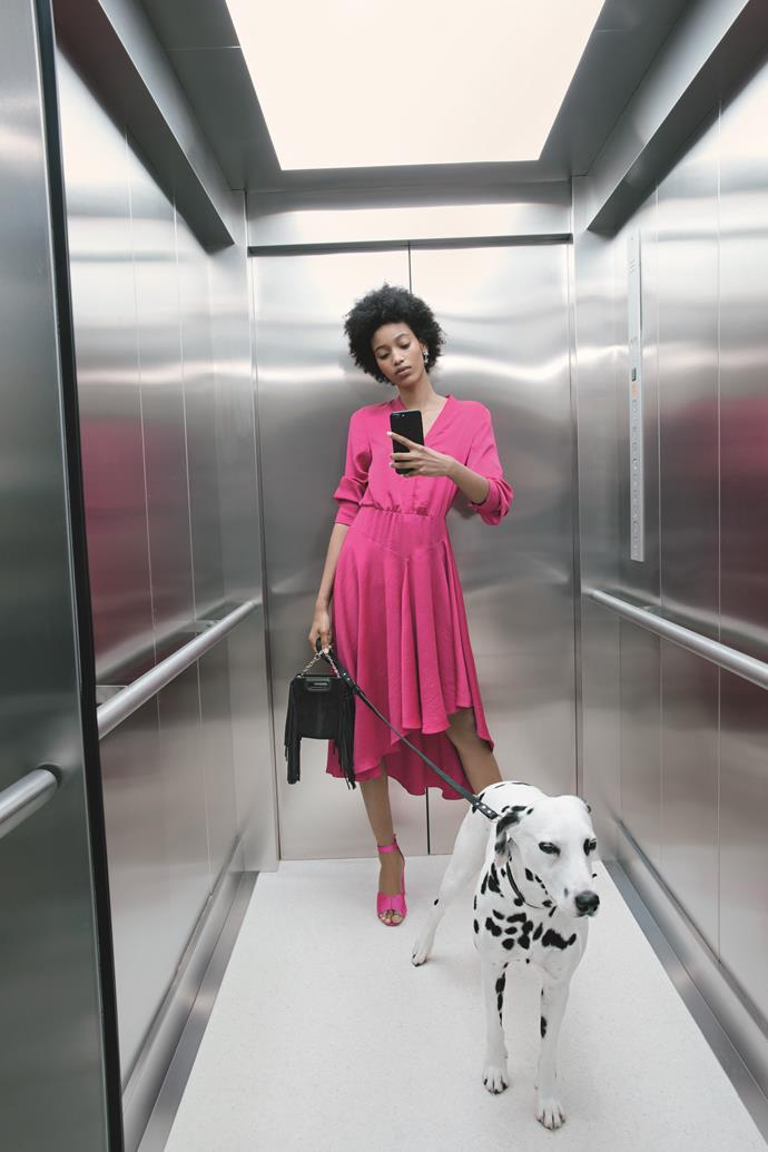"[Maje Paris ASYMMETRICAL SATIN DRESS, $610](https://www.maje.com.au/new-in/asymmetrical-satin-dress-fuchsia/?utm_source=article&utm_medium=native_article&utm_campaign=elle_magazine&utm_term=maje_my_dog_and_i_new_collection_fall_winter|target=""_blank""