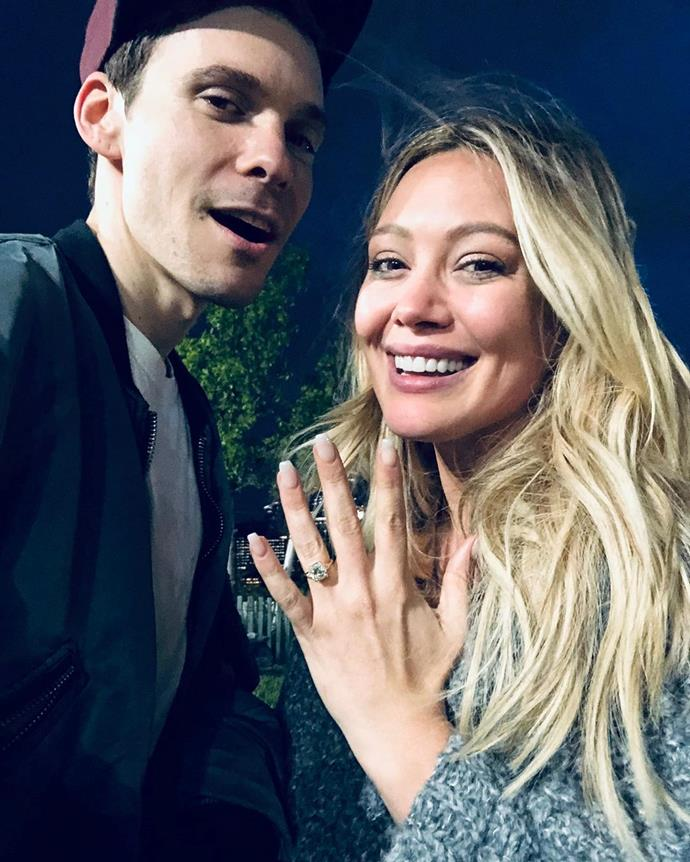 """**Hilary Duff and Matthew Koma**<br><br>  Hilary Duff is set to tie the knot for the second time, having gotten engaged to her now-fiancé Matthew Koma in May 2019. The *Younger* star shared a shot of her sizeable ring to Instagram with the caption, """"He asked me to be his wife♥️"""".<br><br>  *Image via [@hilaryduff](https://www.instagram.com/p/BxPrPNtAazt/