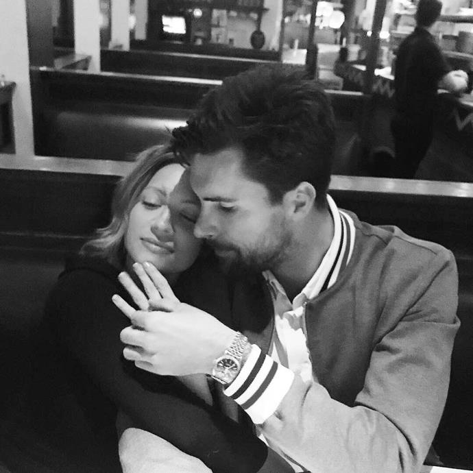 """**Brittany Snow and Tyler Stanaland**<br><br>  There was clearly something in the Hollywood air, because *Pitch Perfect* star Brittany Snow also got engaged to her now-fiancé Tyler Stanaland in February 2019. The actress shared a lovely carousel of black-and-white photos of the proposal to her [Instagram](https://www.instagram.com/p/BuFDqFrHhH_/