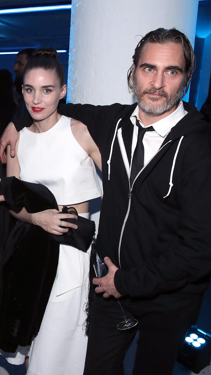 """**Rooney Mara and Joaquin Phoenix**<br><br>  Rumours of an engagement commenced after Rooney Mara was seen sporting a [very unusual ring](https://www.elle.com.au/celebrity/rooney-mara-joaquin-phoenix-engagement-ring-20618