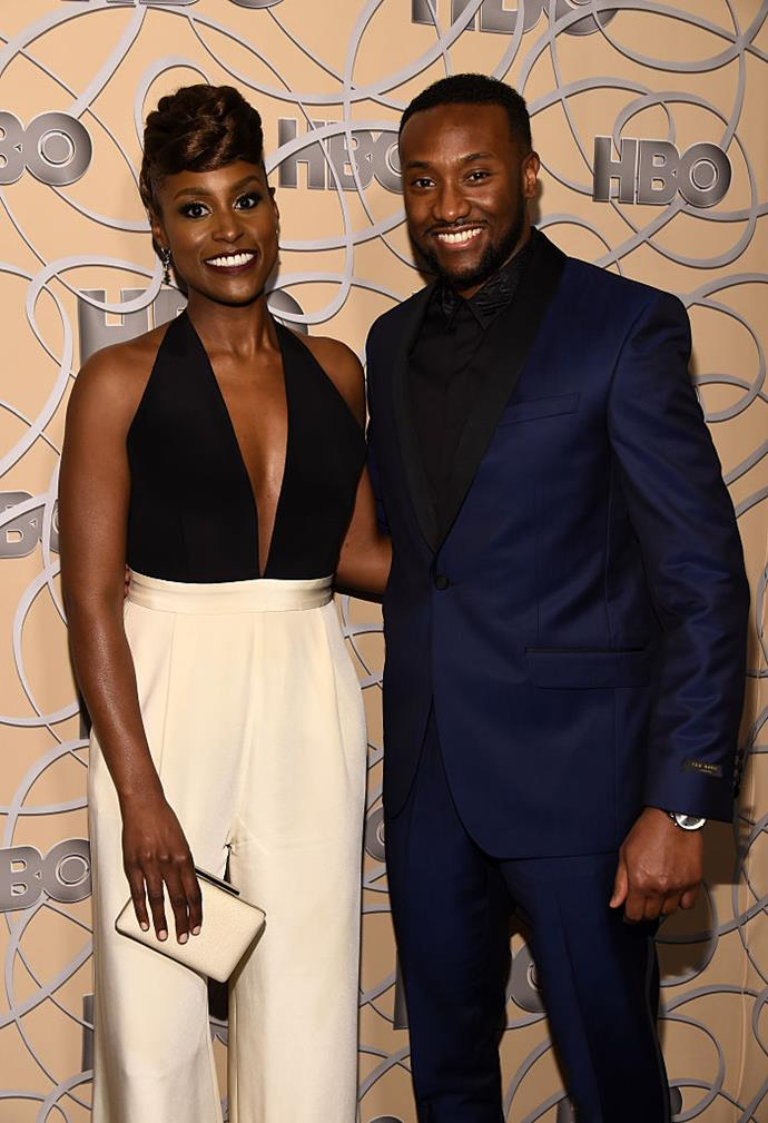 """**Issa Rae and Louis Diame**<br><br>  *Insecure* creator and actress Issa Rae got engaged to her longtime boyfriend Louis Diame in March 2019. Rae's co-star Yvonne Orji confirmed the news to [*Entertainment Tonight*](https://www.etonline.com/issa-raes-insecure-co-stars-open-up-about-her-engagement-exclusive-122444