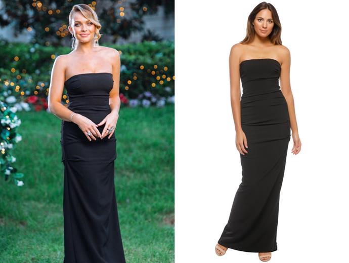 "Abbie wears the 'Tuck' dress by Nicole Miller, $89 per week at [Glam Corner](https://www.glamcorner.com.au/designers/nicole-miller/tuck-strapless-gown|target=""_blank""|rel=""nofollow""), in episode 11."