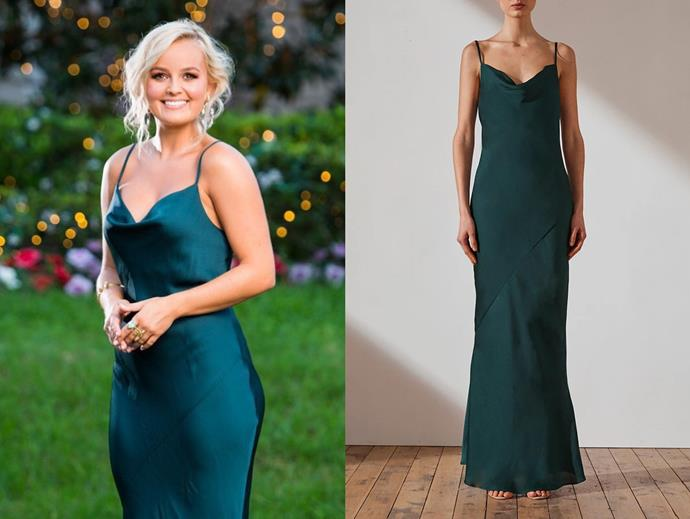 "Elly wears the 'luxe bias' dress, $280 by [Shona Joy](https://shonajoy.com.au/products/luxe-bias-cowl-slip-dress-emerald|target=""_blank""