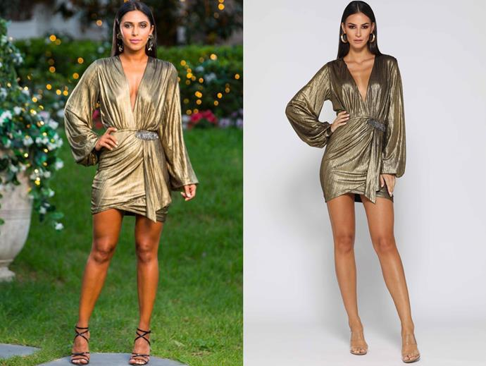 "Sogand wears the 'Jessie' dress, $299.95 by [Elle Zeitoune](https://www.ellezeitoune.com.au/item/1276-Jessie-Gold/|target=""_blank""