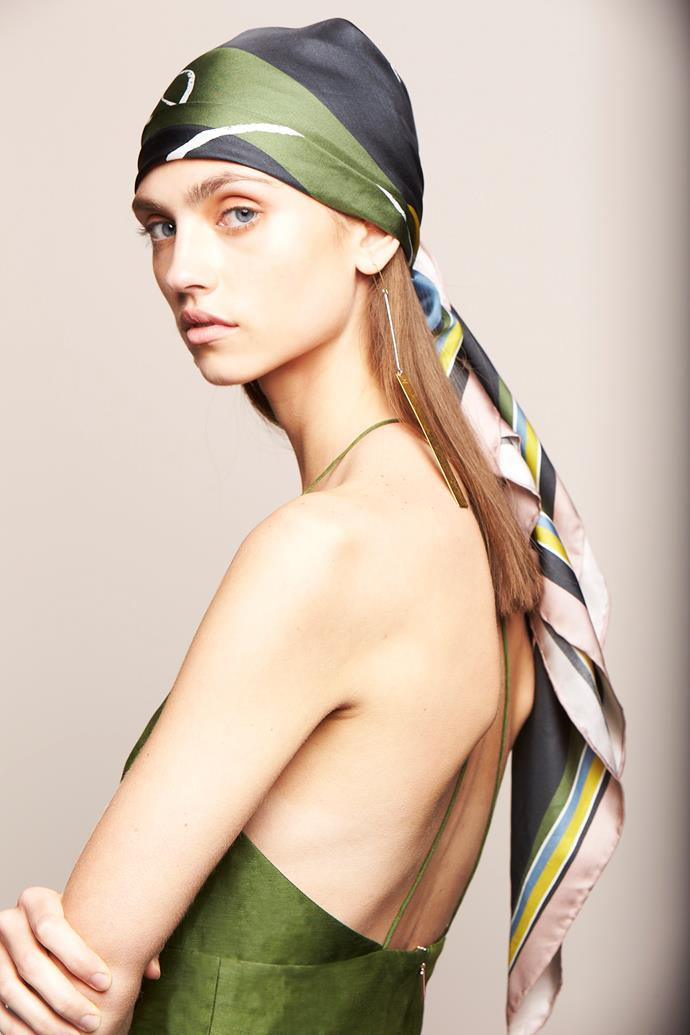 "**SCARVES** <br><br> **Ginger & Smart:** ""We love luxe printed silk head scarves tied in interesting ways for Spring Racing 2019."" <br><br> *Image: Ginger & Smart*"