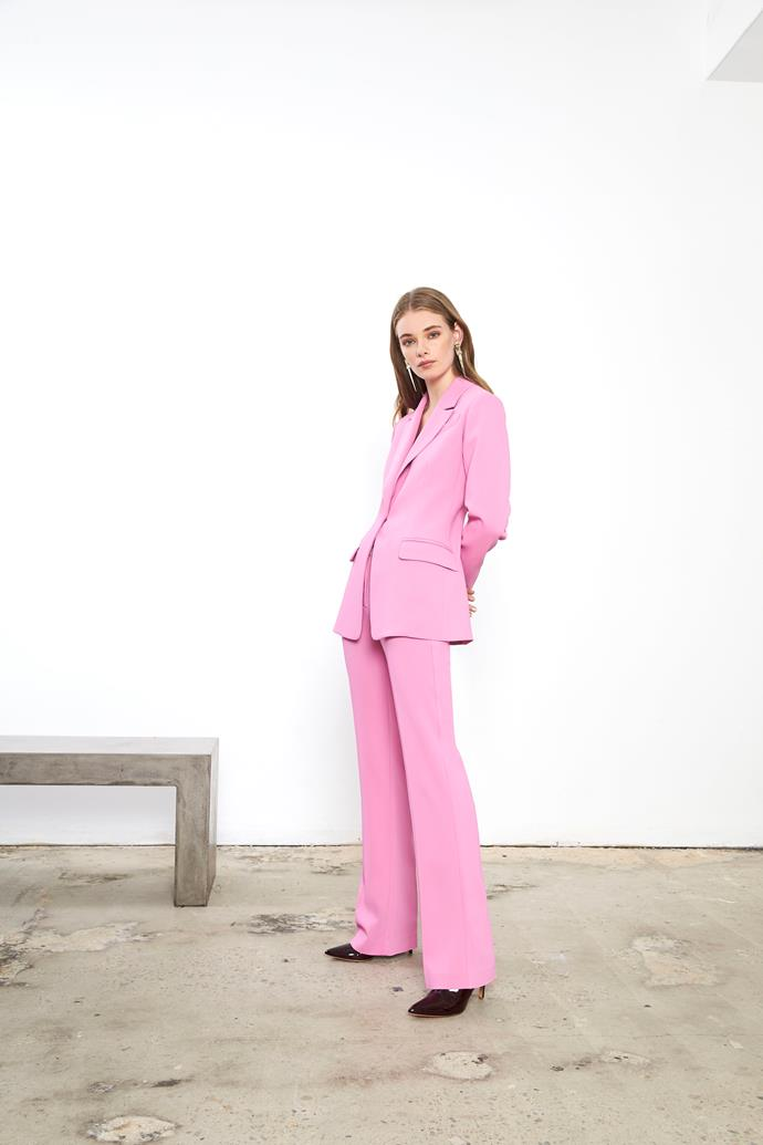 "**SUITING** <br><br> **Ginger & Smart:** ""We expect to see women embracing bright colour in tailored pant suits for Spring Racing."" <br><br> **Carla Zampatti:** ""I expect a return to jumpsuits and pant suits—fitted jackets with slim trousers in black or white for Derby and pops of colour for Cup and Oaks Days. An alternative will be the coat dress."" <br><br> *Image: Ginger & Smart*"