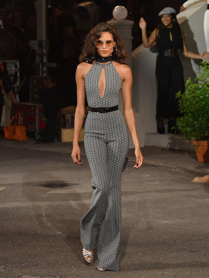 **The show had a stellar cast**<br><br>  French supermodel Cindy Bruna strutted her stuff in a flared jumpsuit with a plunging keyhole feature.