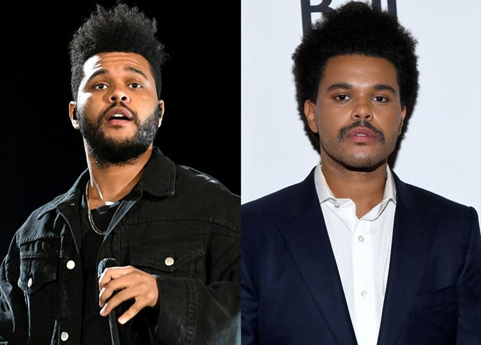 "**The Weeknd:** Boys can have break-up haircuts (and shaves) too! A month after news broke of his split from model [Bella Hadid](https://www.elle.com.au/celebrity/bella-hadid-the-weeknd-breakup-20987|target=""_blank""), singer The Weeknd stepped out sporting a fresh look. Gone were his short back and sides and beard, replaced by voluminous natural curls all around and a statement moustache."