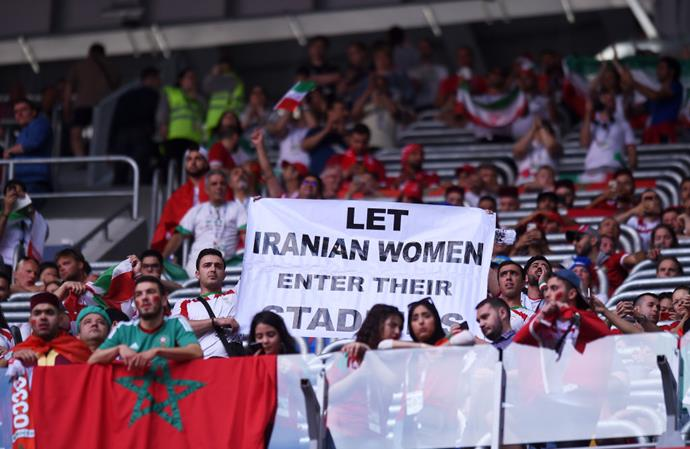 Iran fans calling for Iranian women to be let into sports stadiums at the 2018 FIFA World Cup in Saint Petersburg, Russia.