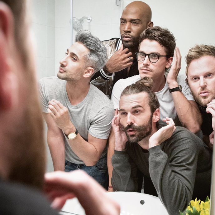 "***Queer Eye:*** Obviously! If you haven't watched this joyous so-called ""makeover"" show that's about so much more than makeovers, get to it. The Fab Five share their wisdom with those who need it, providing everything from grooming advice to emotional therapy and cooking tips."