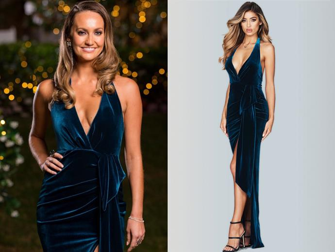 "Emma wears the 'Vixen' gown by Nookie, $284.14 at [White Runway](https://whiterunway.com/shop-designer/nookie/vixen-velvet-gown.html|target=""_blank""