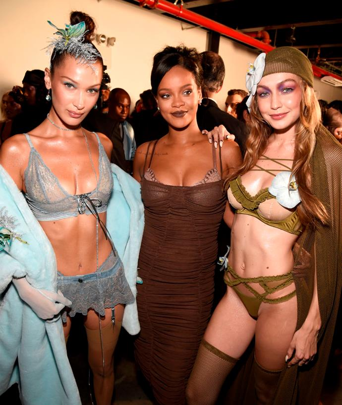 Bella Hadid, Rihanna and Gigi Hadid backstage at the Savage x Fenty fashion show.