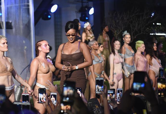 Rihanna taking her bow with the cast at the Savage x Fenty show.