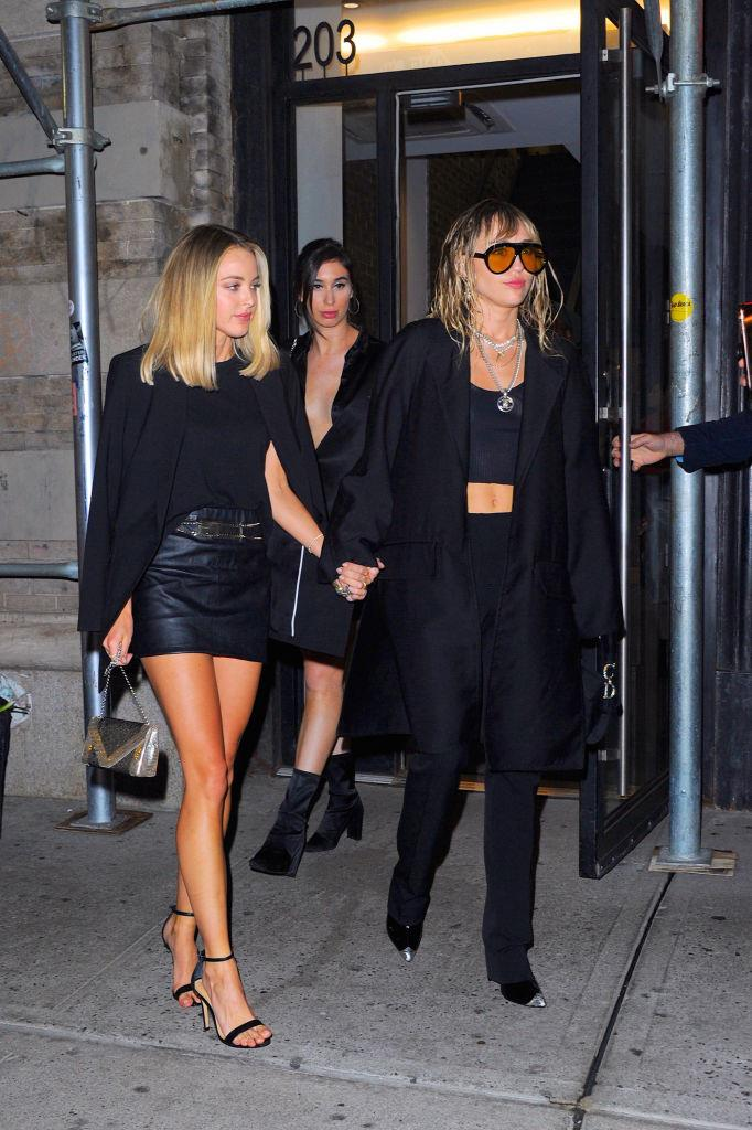 Cyrus wore a jet-black suit and amber-hued sunglasses on a date night outing with Kaitlynn Carter during New York Fashion Week on September 11, 2019. <br><br> *Image: Getty*
