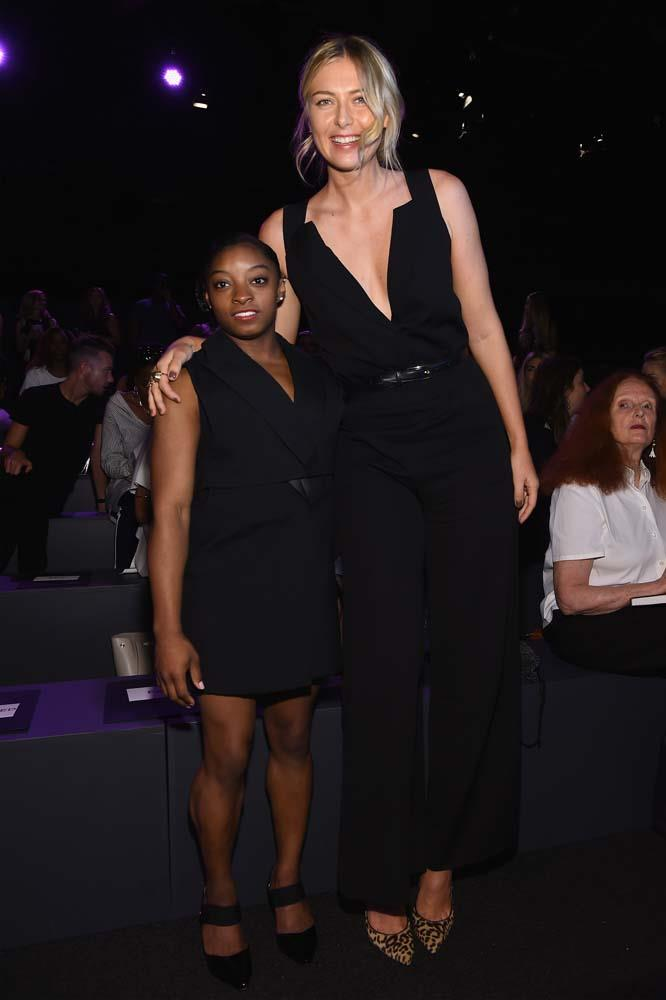 "***Maria Sharapova***<br><br> Okay, this might be cheating, seeing as Simone Biles (left) is only 4'8"", but Maria Sharapova is actually 6'2"", which might explain how she can cover a tennis court so quickly."