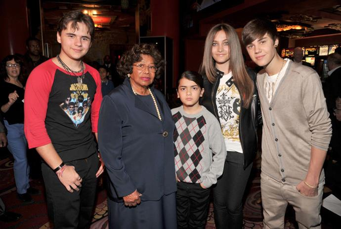 Katherine Jackson with her grandchildren (from left) Prince Jackson, Blanket Jackson, and Paris Jackson, with Justin Bieber in 2012.