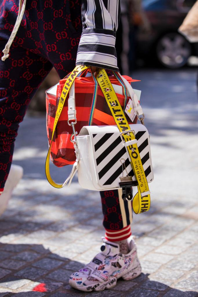 **Off-White** <br><br> As one of the world's most dominant streetwear labels, thanks in part to its loyal celebrity fanbase, Off-White is a safe bet, whether you're purchasing sneakers, bags or men's t-shirts.