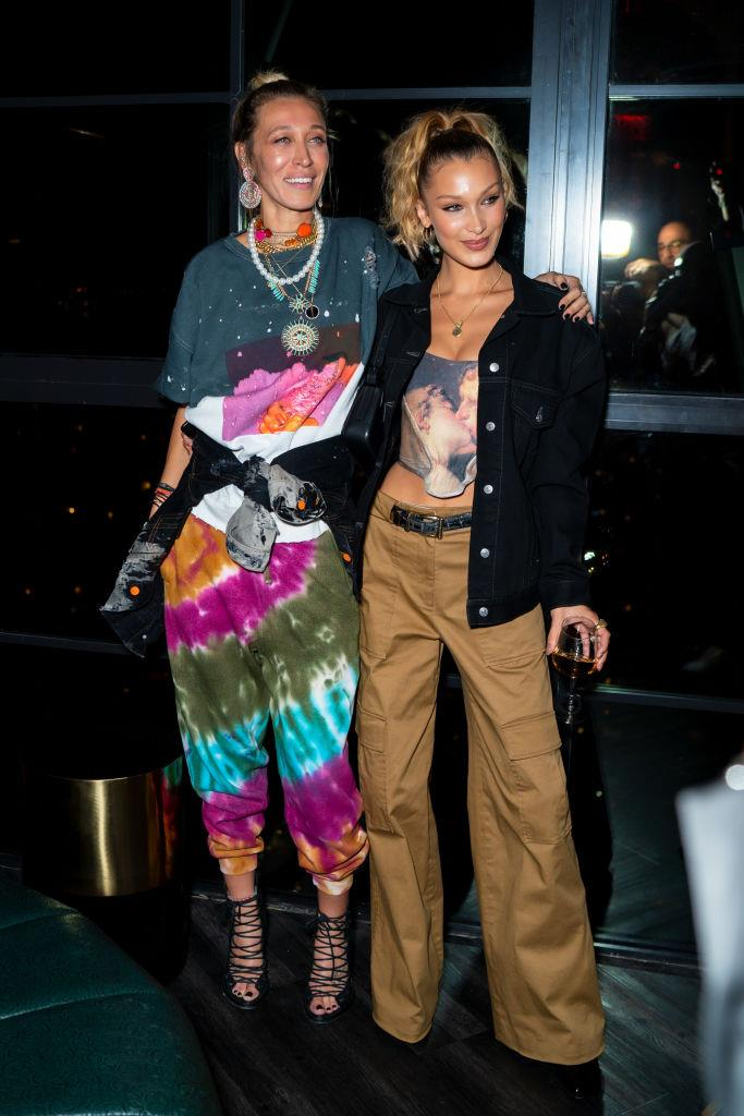 Bella Hadid wearing a midriff-baring corset with her sister, Alana Hadid, at New York Fashion Week on September 5, 2019. <br><br> *Image: Getty*