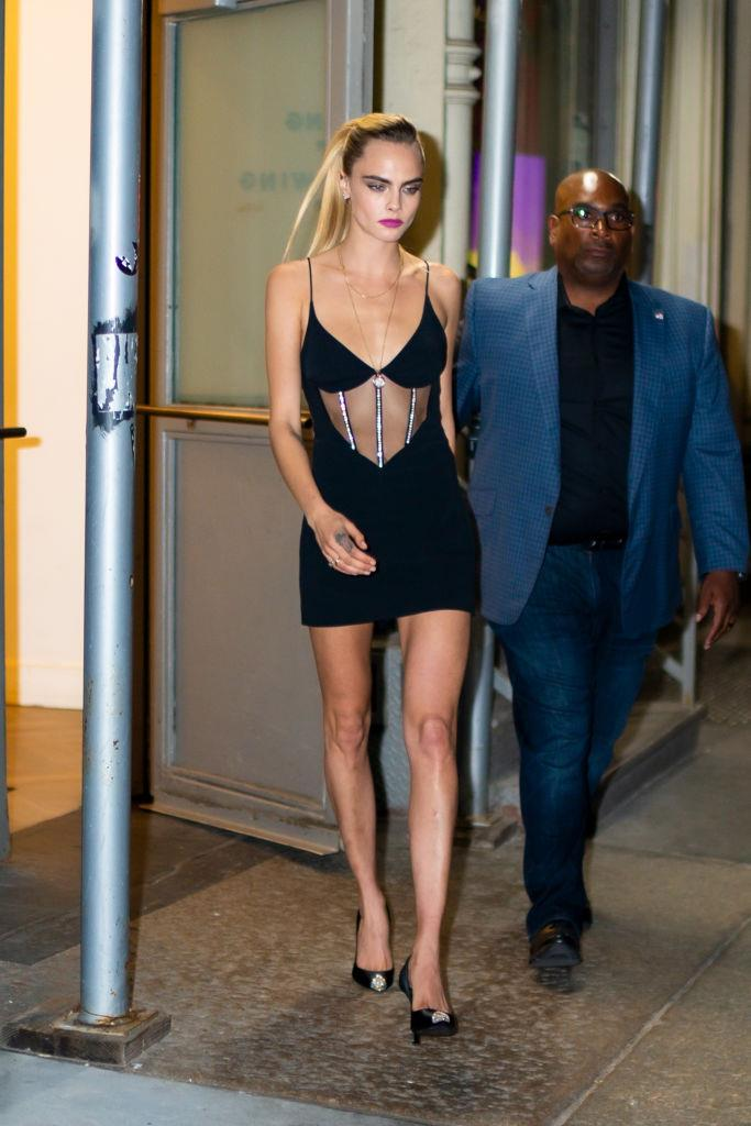 Cara Delevingne in a corset-style, crystal-adorned minidress in New York on September 3, 2019. <br><br> *Image: Getty*