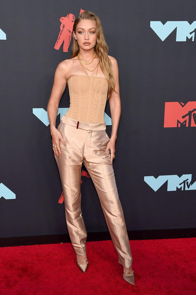 "Gigi Hadid wearing a Tom Ford corset at the [MTV VMAs](https://www.elle.com.au/fashion/vmas-red-carpet-2019-21123|target=""_blank""
