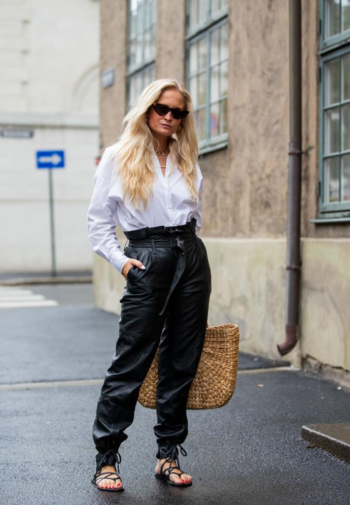 Street style at Copenhagen Fashion Week on August 28, 2019. <br><br> *Image: Getty*
