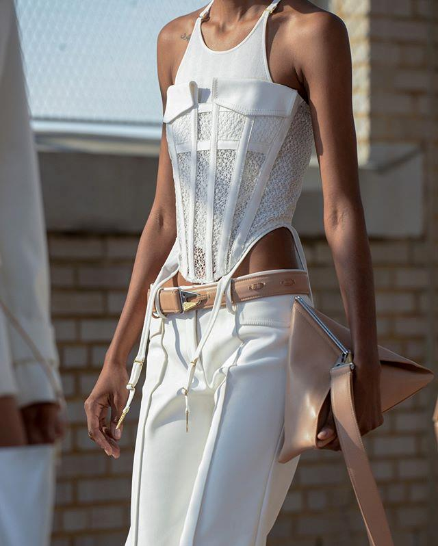 """A model wearing a futuristic-style corset on the runway at Dion Lee spring/summer '20 on September 11, 2019. <br><br> *Image: Instagram [@dionlee](https://www.instagram.com/p/B2h0AtPJej4/ target=""""_blank"""" rel=""""nofollow"""")*"""