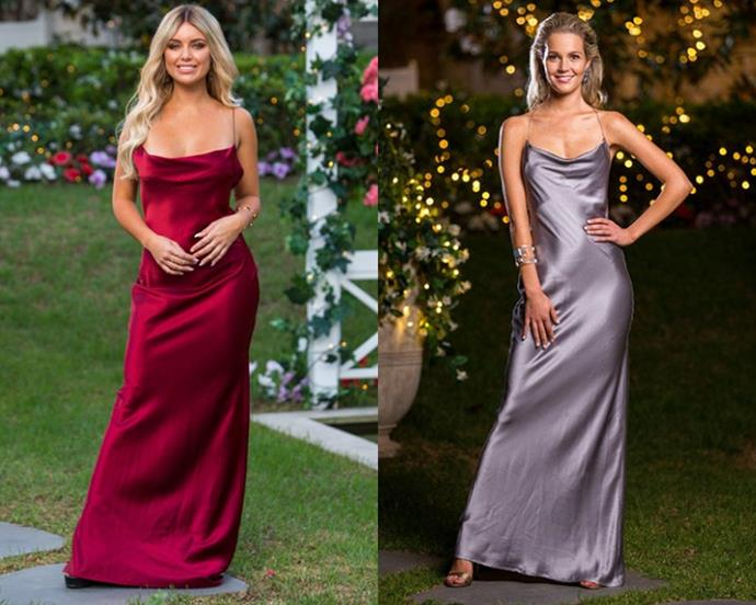 "Monique (in rust) and Helena (in gunmetal) in the '[Virgo](https://www.natalierolt.com/collections/made-to-order/products/virgo-gown?variant=18719046795353|target=""_blank""