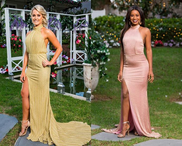 "Ashlea (from *The Bachelor* Australia 2018) and Mary in halter-neck gown by [Elle Zeitoune](https://www.ellezeitoune.com.au/|target=""_blank""
