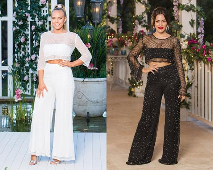 "Cass (from *The Bachelor* Australia 2018, in [white](https://jontedesigns.com/collections/tops/products/ritz-beaded-top-black-white|target=""_blank""