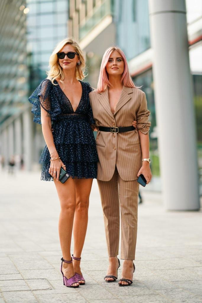 Chiara Ferragni and Valentina Ferragni at Alberta Ferretti.