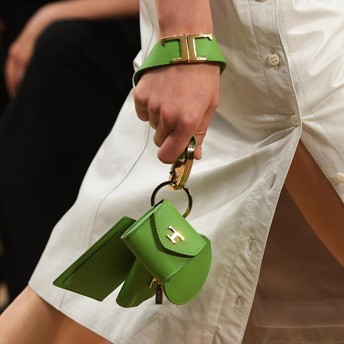Miniature accessories adorned with the iconic T-print at Tod's.