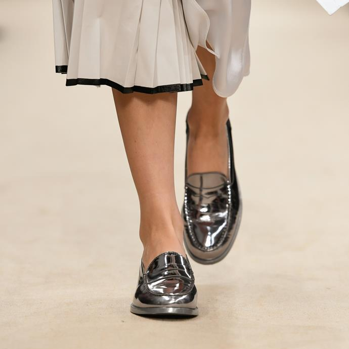 Metallic loafers at Tod's spring/summer '20.