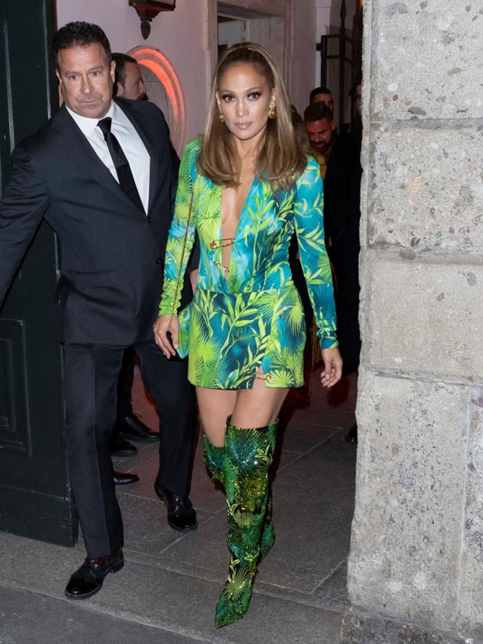Jennifer Lopez at Versace.