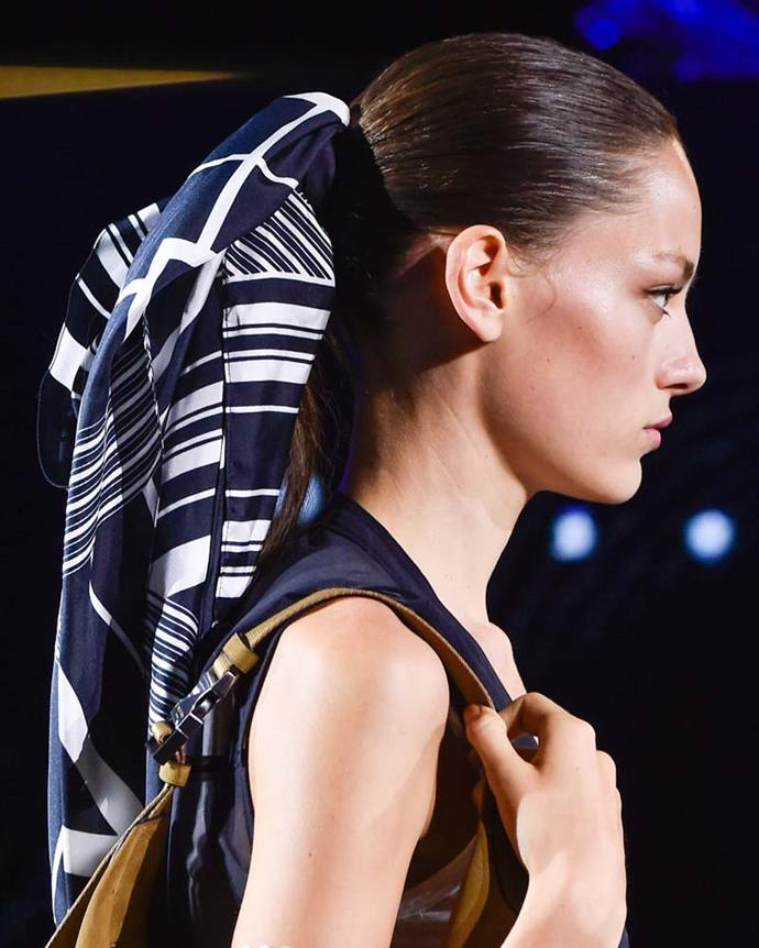 ***A hair scarf***<br><br> Both Burberry and Rag & Bone (pictured) have been advocates of the hair scarf—worn tied over a ponytail or bun—and now we are, too.
