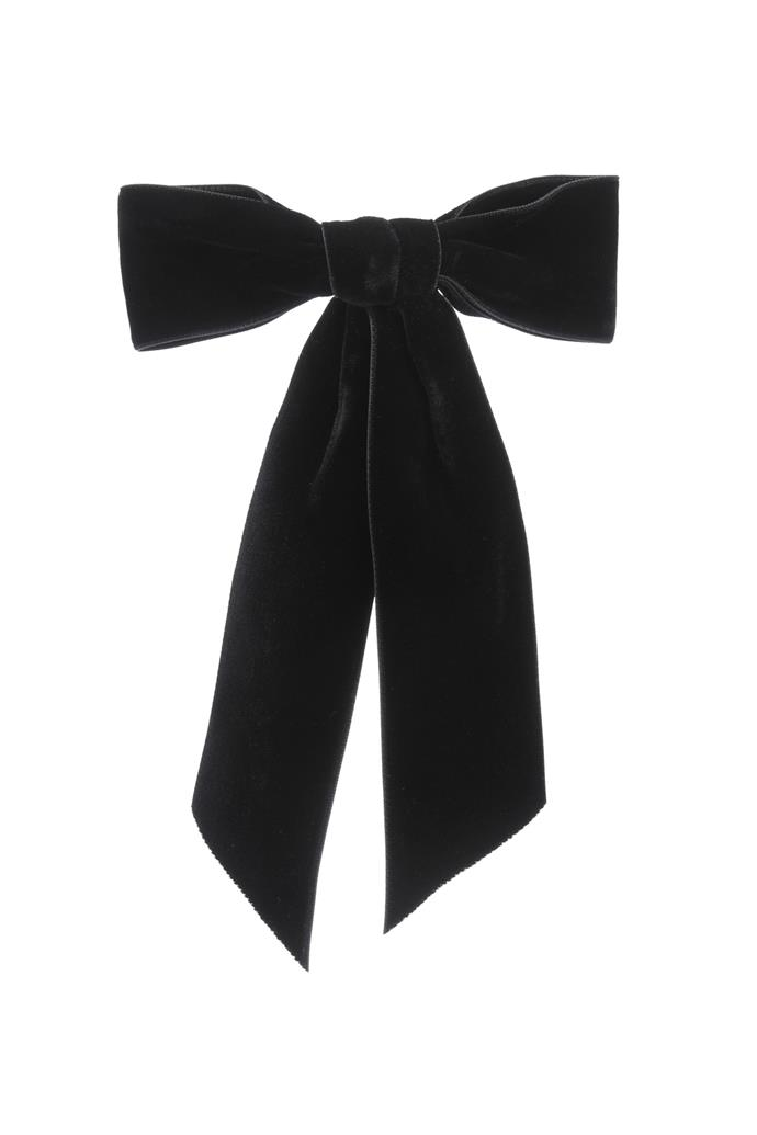 "***A hair bow***<br><br> Bow by Jennifer Behr, $249 at [MyTheresa](https://www.mytheresa.com/en-au/jennifer-behr-velvet-bow-barrette-1230290.html?catref=category|target=""_blank""