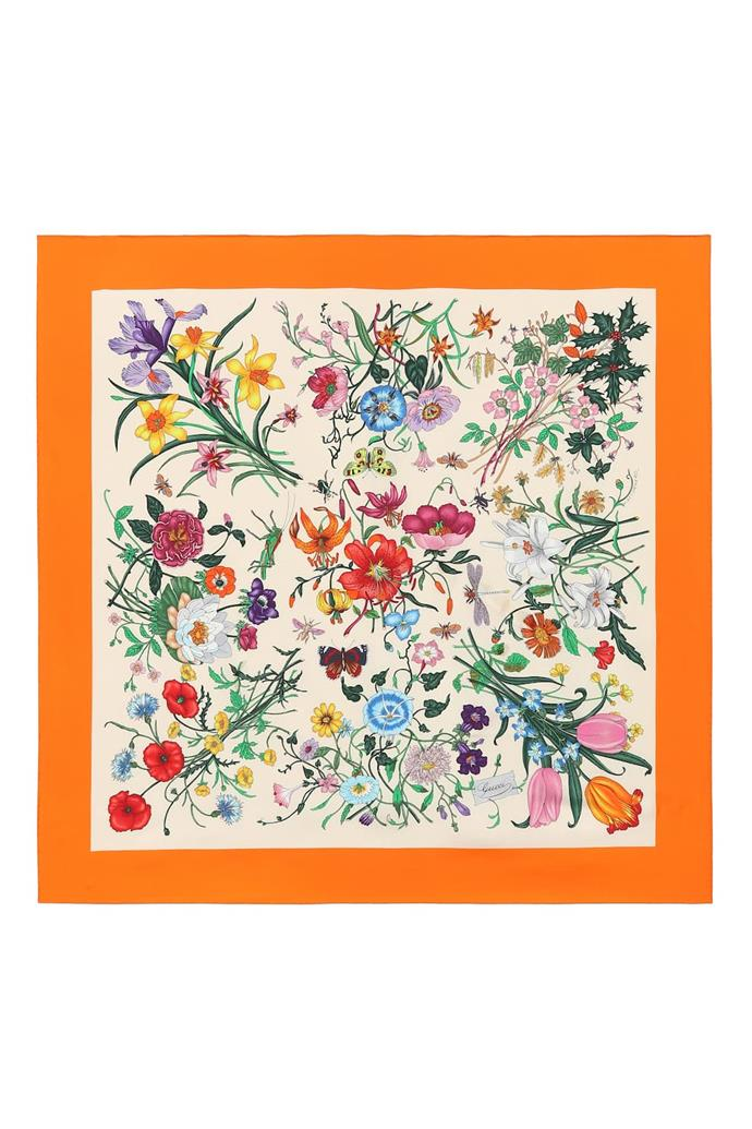 "***A twisted scarf***<br><br> Scarf by Gucci, $615 at [MyTheresa](https://www.mytheresa.com/en-au/gucci-floral-printed-silk-twill-scarf-1145140.html?catref=category|target=""_blank""