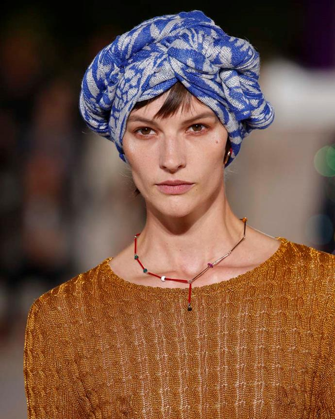 ***A twisted scarf***<br><br> Your hair and headwear sorted in one fell swoop? Count us in. Missoni's boho-chic show had models sporting twisted and wrapped scarves, which came off effortless and cool.