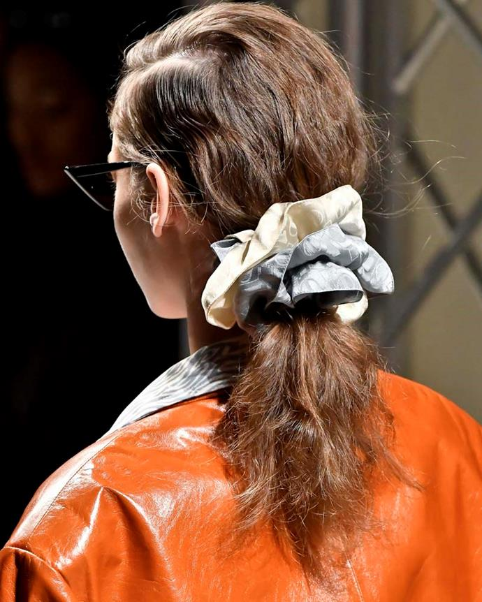 ***A stack of scrunchies***<br><br> While, yes, we usually wouldn't condone wearing a scrunchy to the Melbourne Cup and calling it a day, Drome's chic presentation during Milan Fashion Week put stacked scrunchies on our radar.